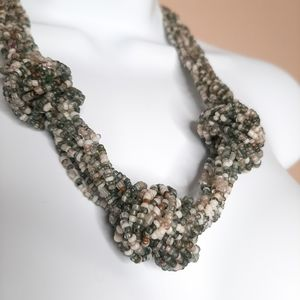 Multi-strand, knotted seed bead necklace